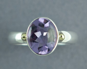 Gold and Silver Amethyst Ring, Solid Gold, Solid Sterling Silver, Amethyst Oval Ring, Made to Order, Free Courier Shipping