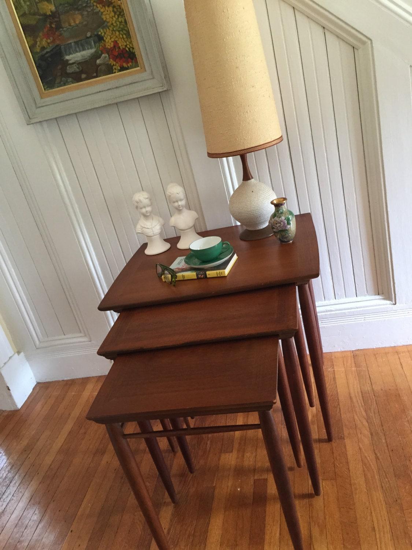 Nesting Tables Midcentury Danish Modern Set Of 3 Henredon