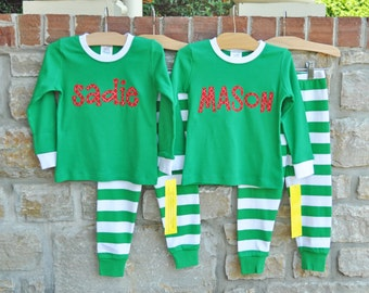 Christmas Green Stripe Pajamas -Christmas Personalized Pajamas -Christmas Monogram Pajamas - Christmas Pajamas -  JULIANNE ORIGINALS