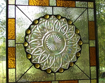 SunFlower and Raindrops  stained glass plate panel