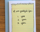 I Am Grateful For You Pass Me A Note Notebook Paper A2 Greeting Card