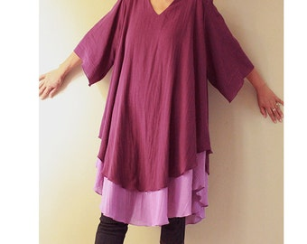 Custom made V-Neck 2 Layers Purple Cotton Loose Short Tunic One Fill All (H)