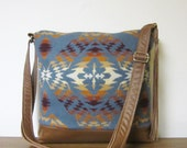 Wool Purse Shoulder Bag Messenger Brown Leather Adjustable Strap Wool from Pendleton Oregon