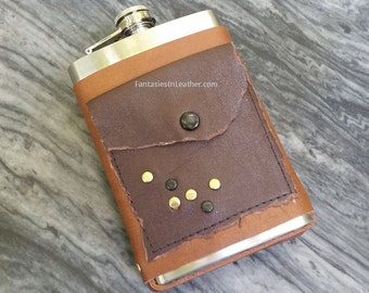 Dystopian Post Apocalyptic Leather Flask Cover And Stainless Steel Flask (MIS134)
