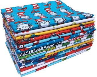 30% Off + Free Ship SALE Robert Kaufman DR. SEUSS Half Yard Bundle 15 Precut Cotton Fabric Quilting Half Yards Dr Seuss