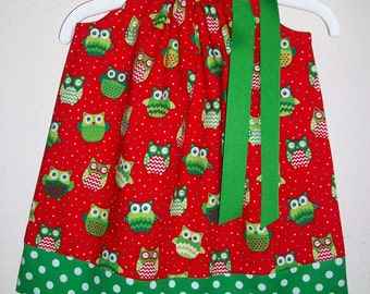 Christmas Dress with Owls Pillowcase Dress with Chevron Owl Dress Red and Green girls dress for Christmas Clothing Holiday Dress