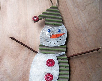 Recycled, UpCycled, Repurposed Cardboard, SNOWMAN ornament, Christmas Tree, Handmade, Holiday Decoration, Folk Art, Sparkle Snow