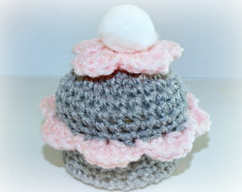 Crocheted Cupcake Trinket Box, Pink & Gray, Handmade