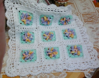Crochet baby doll Blanket Afghan 18 inch square GRN18 Raised flower Pastels Mint Green White Scallop Edge