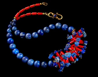 Coral Lapis Necklace Tribal jewelry Ethnic Tibetan brass Colorful Blue Red natural stone unique jewelry handmade gifts PinkOwlJewelry