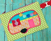 Happy Camper -- Zippered Pouch -- Green Dots