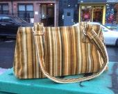 Brown and Gold Striped Corduroy Baguette Bag, Handbag, Purse