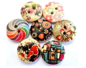 42 Wood buttons 7 kinds wooden assorted flowers pictures design 15mm