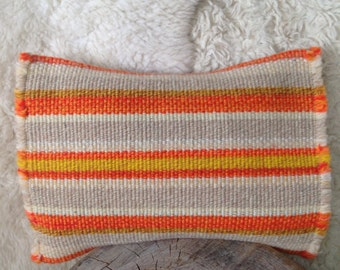 Orange yellow gray wool pillow cover 12x16 modern home decor throw  cushion stripes