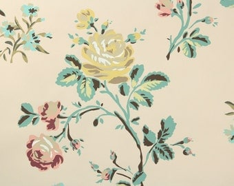 1950s Vintage Wallpaper by the Yard - Floral Wallpaper with Pink and Yellow Roses and Flowers on Beige