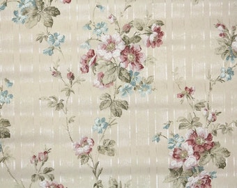 1920's Vintage Wallpaper - Antique Floral Wallpaper with Pink and Blue Flowers on Ivory Stripe