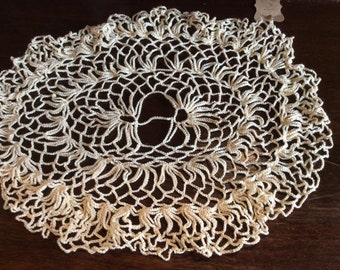 "Vintage Beige  Crocheted Doily 16"" D19"