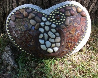 Large Stained Glass Mosaic Rock with Luck Horseshoe and rocks.