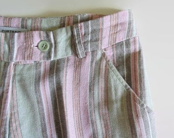 Striped High Waist Linen Pants, Summer Trousers, 90s Vintage Clothing, Womens Clothes, Green Pink Brown, Long Pants, Size 10, Women Trousers
