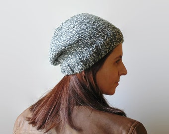 Marl Gray Wool Chunky Knit Beanie, Womens Beanies, Hand Knit Hat, Cute Slouchy Hat, Tweed Gray, Bobble Hat, Knit Beanie, Ready to Ship