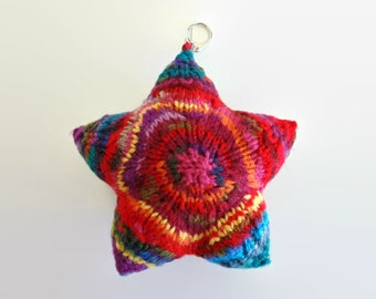 Colorful Star Bag Charm, Bag Accessories, Purse Charm, Gifts for Her, Ready to Ship, Gifts Under 20, Key Chain, Hand Knitted, Star Bag Charm