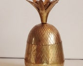 Brass Pineapple Container Box Candle Holder Hollywood Regency 7.5 Inches
