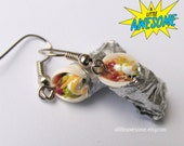 Burrito Earrings, food jewelry