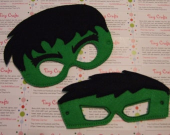 Hulk inspired felt mask for dress up or Halloween Pretend Play Imagination Education party favor