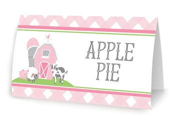 Pink Farm and Barn Animal Party - Food Labels - Printable DIY with fully editable text