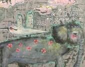 A Little Lift, Folk Art Painting, Friendship, Help, Whimsy, Encouragement, Bird, Elephant, Nostalgia, Mystele