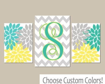 Monogram Wall Art, Yellow Turquoise Baby Girl Nursery Wall Art, Girl Bedroom Pictures, Girl Nursery Artwork Set of 3 Canvas or Prints