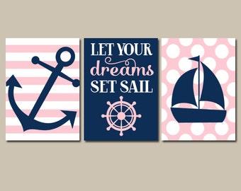 Girl NAUTICAL Wall Art, Girl Nautical Nursery Artwork, CANVAS or Prints, Ocean Nursery Decor, Let Your Dreams Set Sail, Set of 3 Anchor Boat