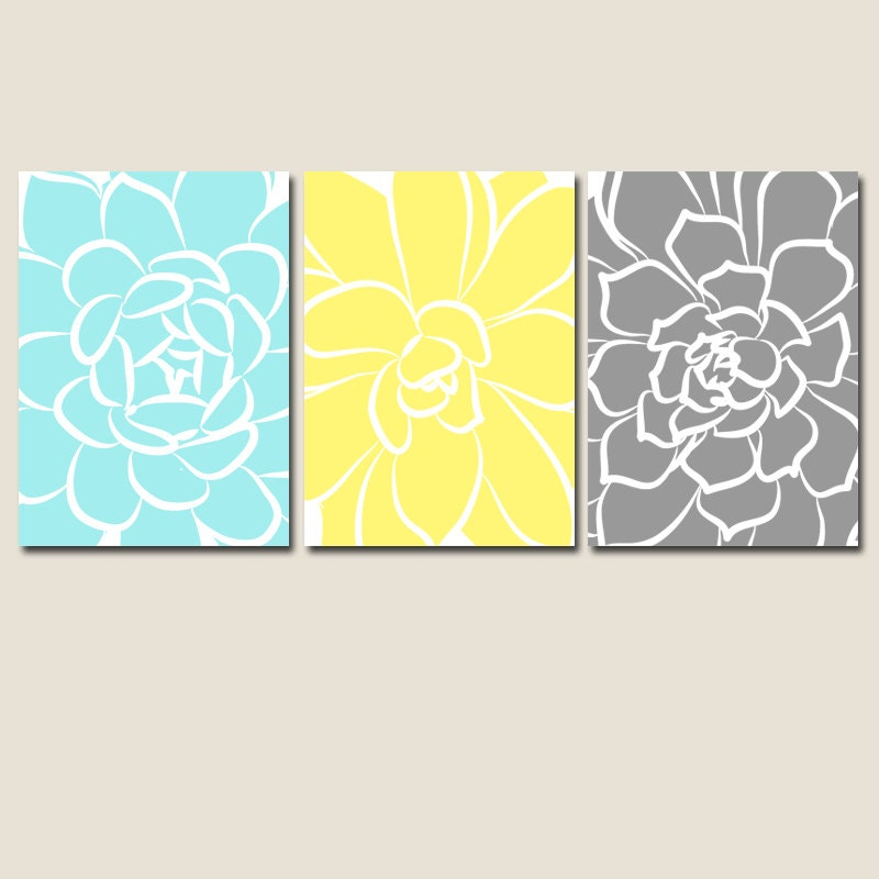 Yellow gray aqua bathroom decor wall art canvas or prints for Bathroom decor etsy