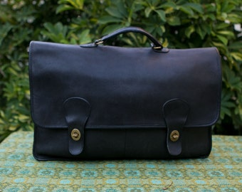 Vintage Coach NYC Black Diplomat Double Gusseted Briefcase Attache Laptop IPad Case USA Made in New York City 0702162