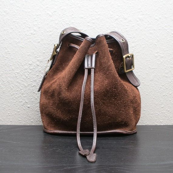 Vintage Coach Brown Reverse Suede Nubuck and Leather Sling