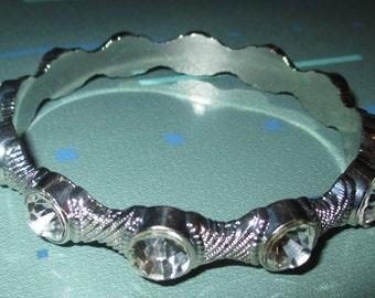 Vintage Showy Large Rhinestone Silver Metal Bangle Bracelet