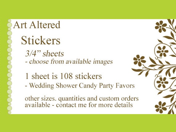 "Candy STICKERS 3/4"" party favor labels scrapbook planner wedding graduation baby shower gift packaging envelope seals treat bag kiss buffet"