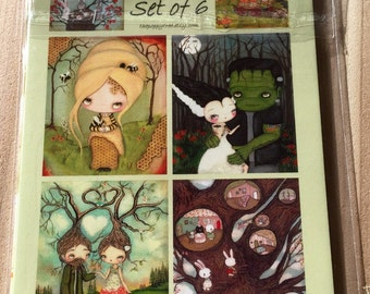 Postcards---Set Of 6 High Quality Art Cards Frankenstein, Love, Forest, Bee