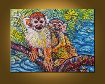 Rainforest Monkeys -- 18 x 24 inch Original Oil Painting by Elizabeth Graf on Etsy -- Art Painting, Art & Collectibles