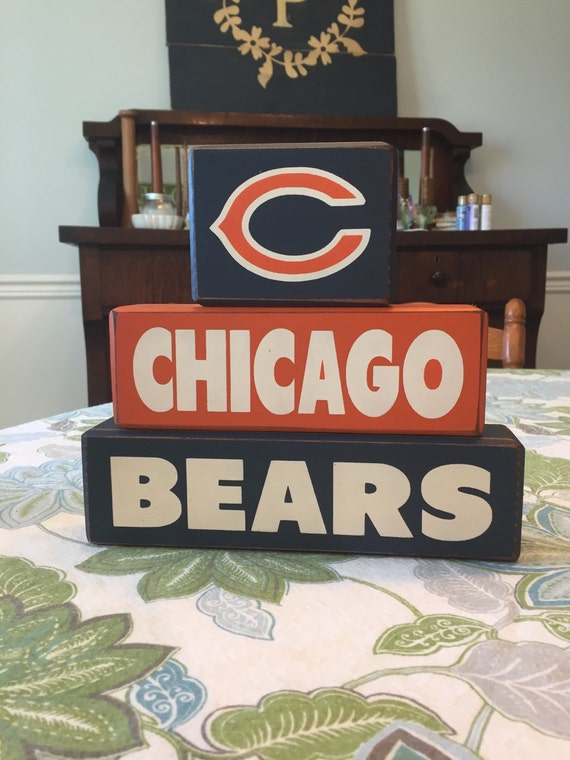 chicago bears wood sign blocks distressed by applejackdesign