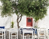 "Greece photography - Greek Taverna - Table and Chairs - Olive Tree - White - Kitchen Art - Dining Room Wall Art ""Cafe Under an Olive Tree"""