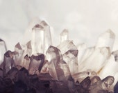 """Quartz Crystal Photograph - Mineral Print - Gems White Taupe  Gray - Geology Art - Nature Wall Art Print """"Crystal One"""""""