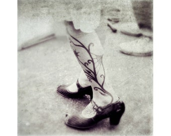 "Art photograph woman tattoo shoes steampunk black white  post modern art spider web grey goth art  ""Tattered Shoes"""