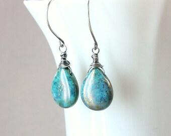 Turquoise Glass Earrings Oxidized Silver Drop Earrings Wire Wrapped Teardrop Handmade Jewelry Turquoise Earrings Glass Jewelry Gift For Her