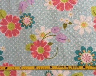 NEW Riley Blake Dream and a Wish floral on blue cotton Lycra  knit fabric 1 yd