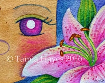 ORIGINAL- ACEO- Watercolor Painting- tamia- chicasol- big eye art- lily- flowers- child art- nursery- pink- spring