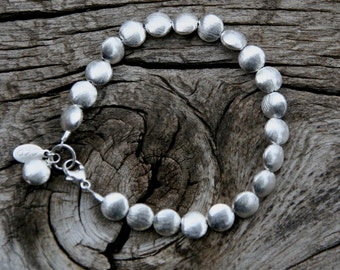 Sterling Silver Bracelet, Brushed Silver Bracelet, Sterling Beaded Bracelet, Sundance Style Bracelet, Simple Silver Bracelet, Stacking