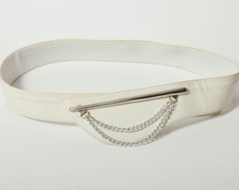 Vintage White Leather Belt with Silver Detail