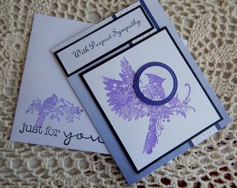 Handmade Sympathy Card: complete card, handmade, balsampondsdesign, christian, card, sympathy card, bird,purple, sympathy card, unique, ooak