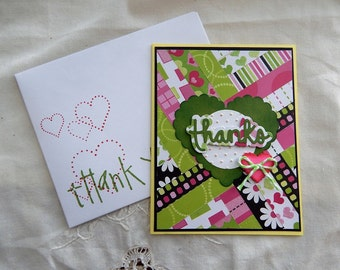 Handmade Thank You Card: complete card, handmade, balsampondsdesign, greeting card, thank you support, green, yellow